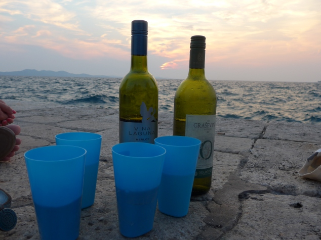 Drinking wine at Zadar quayside