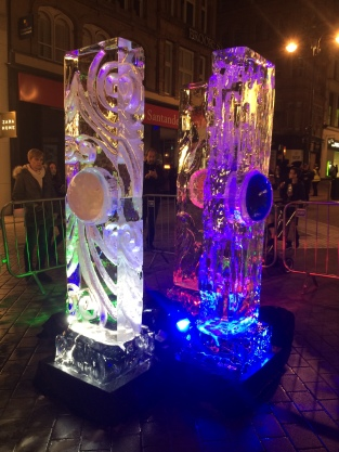 Ethereal Freeze ice sculptures at Light Night Leeds
