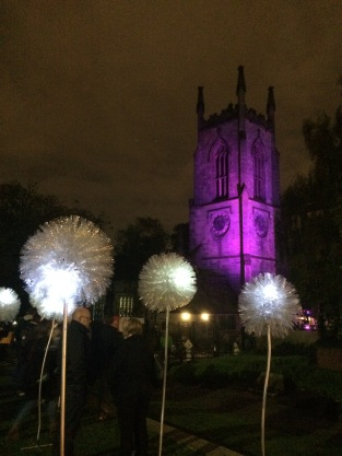 Giant Dandelions at Light Night Leeds