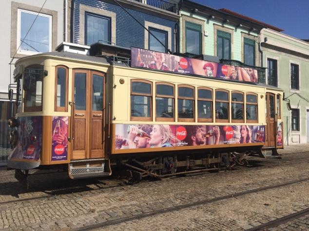 Vintage tram in Foz, Porto