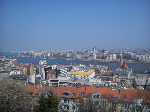 Overhead view of Budapest from Pest
