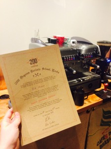 Certificate from Barista Class at 200 Degrees North